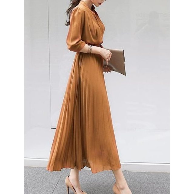 Summer Casual Elegant Office Ladies Korean Blue Vintage Women Long Dresses Pleated Plain High Waist Female 2019 Retro Maxi Dress
