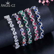 ANGELCZ Fashion Round Blue Green Red Cubic Zircon Crystal Tennis Bracelet for Women Sterling Silver 925 Jewelry Party Gift AB140