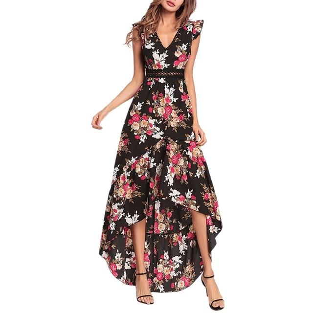 973a3fd2140 2018 summer dress irregular hollow out V neck ruffled floral print long  maxi dresses sleeveless boho