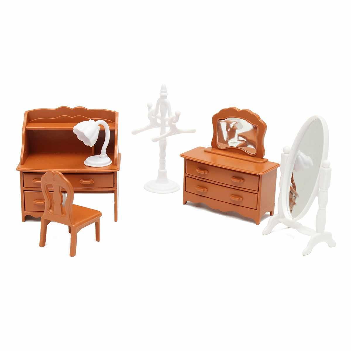 Conjuntos de Sala de estar Mobiliário Penteadeira em miniatura Para As Crianças Mini Brinquedo Casa de Boneca Casa De Bonecas de Decoração Para Casa Crianças Brinquedos de Presente