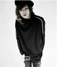 New Arrival Club Men Must Coquettish Unique Zipper Strapless Hip Hop Pure Color Long Sleeve T