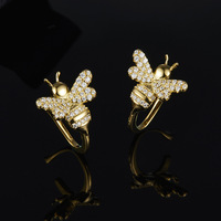 New fashion design bee Ear clip beauty women 925 Sterling silver personality small pure and fresh contracted Ear clip jewelry
