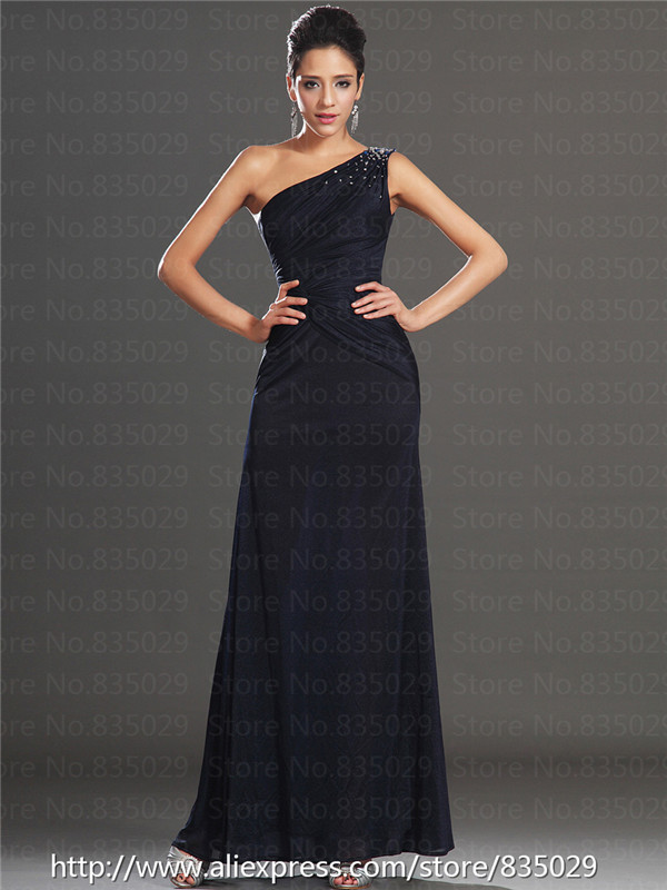 c3c3361d9b Beaded Venus Neckline One Shoulder Chiffon Black Corset long Formal Evening  Dress-in Evening Dresses from Weddings   Events on Aliexpress.com