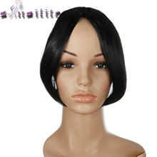 S-noilite Women Middle Part Bangs Short Front Neat Clip in on Bang Fringe Hair Extensions Synthetic Hairpiece(China)
