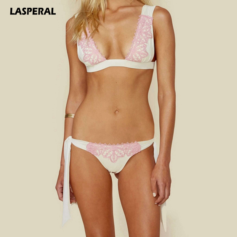 LASPERAL Sexy Bikini Set Women 2018 Lace Swimsuit Low Waist Swimwear Push Up Brazilian Biquini Bandage Beachwear Maillot De Bain new cute girls sexy bikini women swimwear push up bra biquini low waist mini skirt bottom agate jewelry bikini set swimsuit