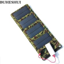 BUHESHUI 7W Solar Energy Foldable Charger USB Output For Charging Mobile Phones Mobile Power Bank Charger  Free Shipping