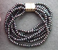 B130517 Beautiful! 6Strands Black Pearl Bracelet