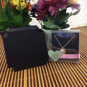 Image 2 - 1 lote = 50 caixa + 50 peças cartão interno 65x65x30mm branco/preto/colar em caixa de brincos/colar/caixa de brincos/colar/anel/joias