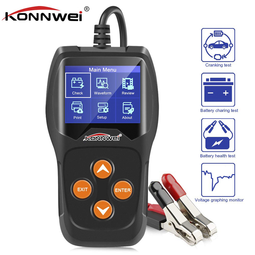 12V Car Battery Tester KONNWEI KW600 100 to 2000CCA 12 Volt Battery Analyzer Tool for Quick