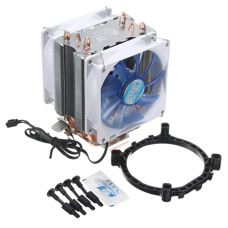 New 92x92x25mm 12V Dual CPU Coiling Cooler Fan Quiet Blue LED Light 3pin Powerful Fan for Intel LGA775/1156/1155 for AMD AM2/3 2200rpm cpu quiet fan cooler cooling heatsink for intel lga775 1155 am2 3 r179 drop shipping