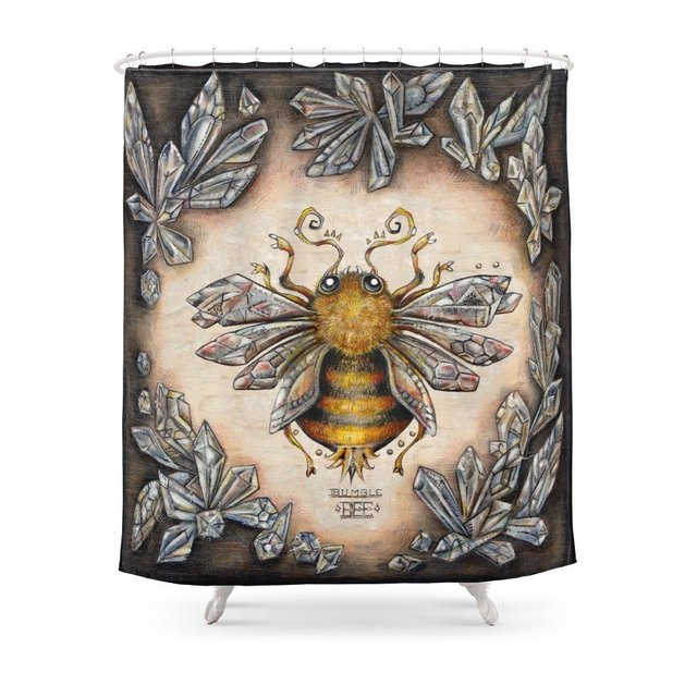 Crystal Bumblebee Shower Curtain Customized Size