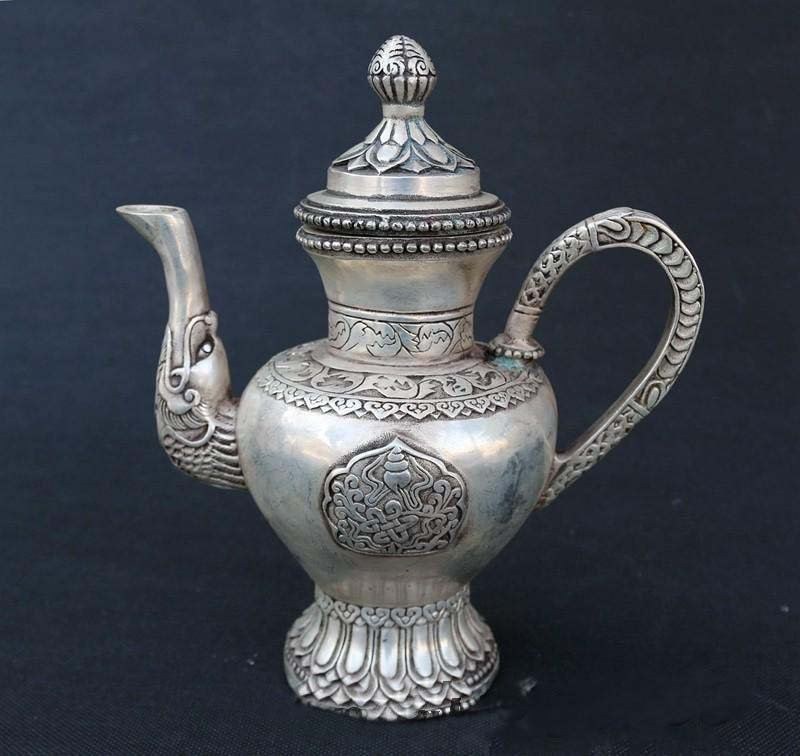 8 Marked Chinese Old Silver Dragon Beast Handle Wine Tea Pot Flagon Statue8 Marked Chinese Old Silver Dragon Beast Handle Wine Tea Pot Flagon Statue