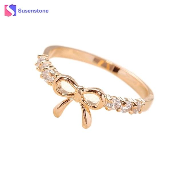 Luxury Lovely Bow Rings Ladies Crystal Rings Fashion Finger Rings For Women Fema
