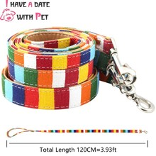 Pet Dog Leash Size S 1.5*120cm M 2.0*120 cm L 2.5*120cm Soft Canvas Cloth Pu Leather Material Rainbow Lead Retail