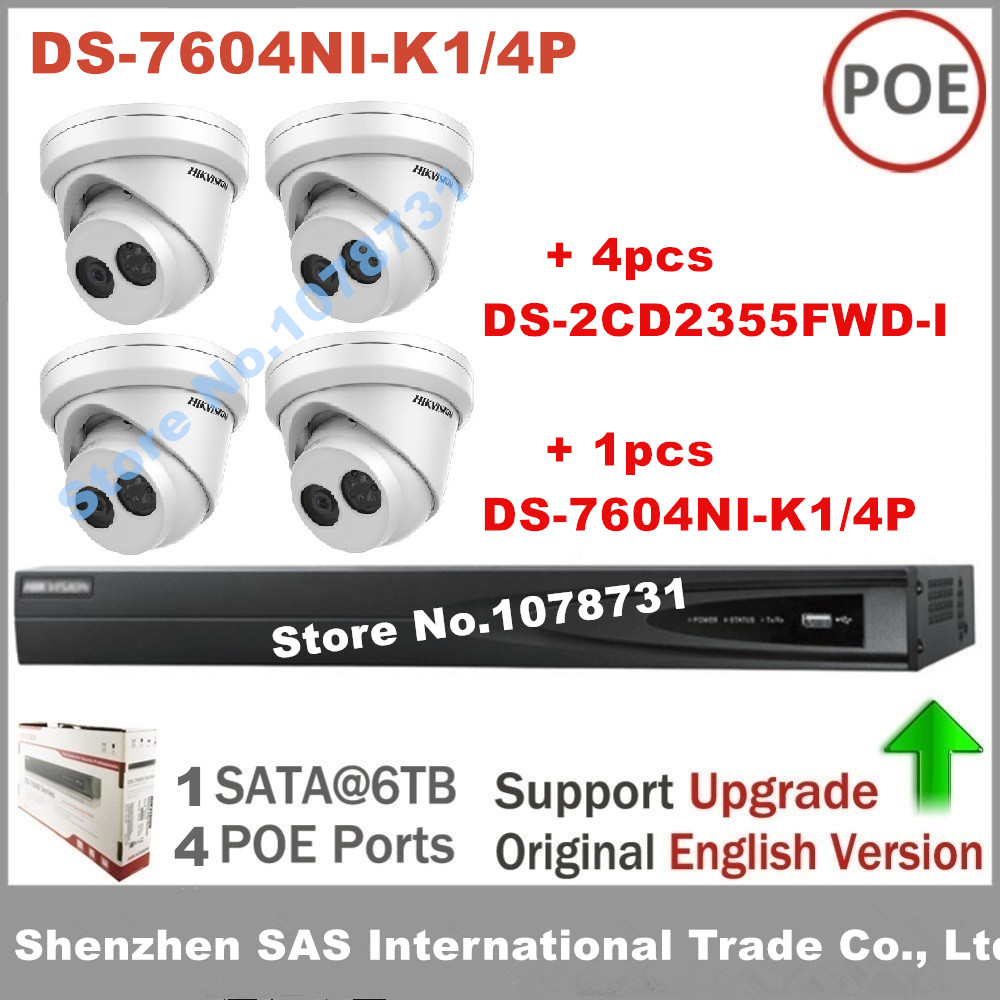 4pcs Hikvision DS-2CD2355FWD-I 5MP Turret IP Camera Video Surveillance + Hikvision DS-7604NI-K1/4P Embedded Plug & Play 4K NVR 4pcs hikvision surveillance camera ds 2cd2155fwd i 5mp dome h 265 ip camera hikvision ds 7604ni k1 4p 4ch 4poe 4k nvr one sata