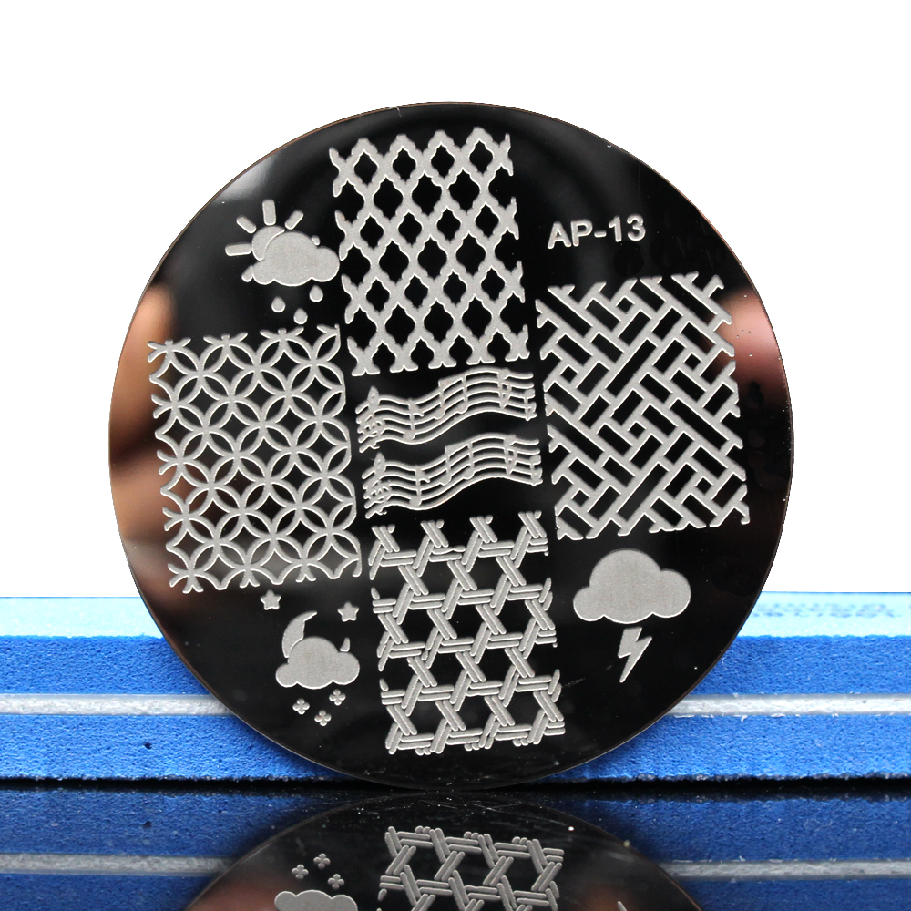 Pandox AP13 Grid Patterns Nail Art Stamp Template Image Plate Stamping Plates Templates Disk Stencil in Nail Art Templates from Beauty Health
