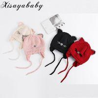 XISAYABABY NEW Winter Unisex Handmade Knitted Baby Hat Cute Cat Pattern Kids Boys Girls Hat Warm