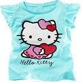 Bebé chicas hello kitty camiseta linda chica de verano de algodón camiseta 2017 nueva llegada 10c