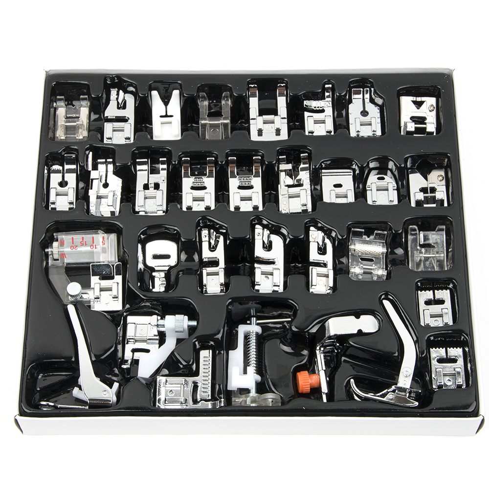 32pcs Domestic Sewing Machine Presser Foot Feet Kit Set Sewing Machine Accessories Sewing Foot Crafts Apparel Sewing Tools