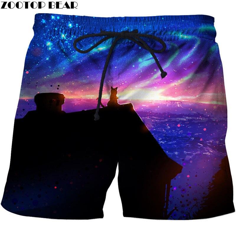 Cat Watching Beautiful Starry Sky Men Beach Shorts Stone Printed Board Shorts Plage Quick Drying Shorts Streetwear ZOOTOP BEAR