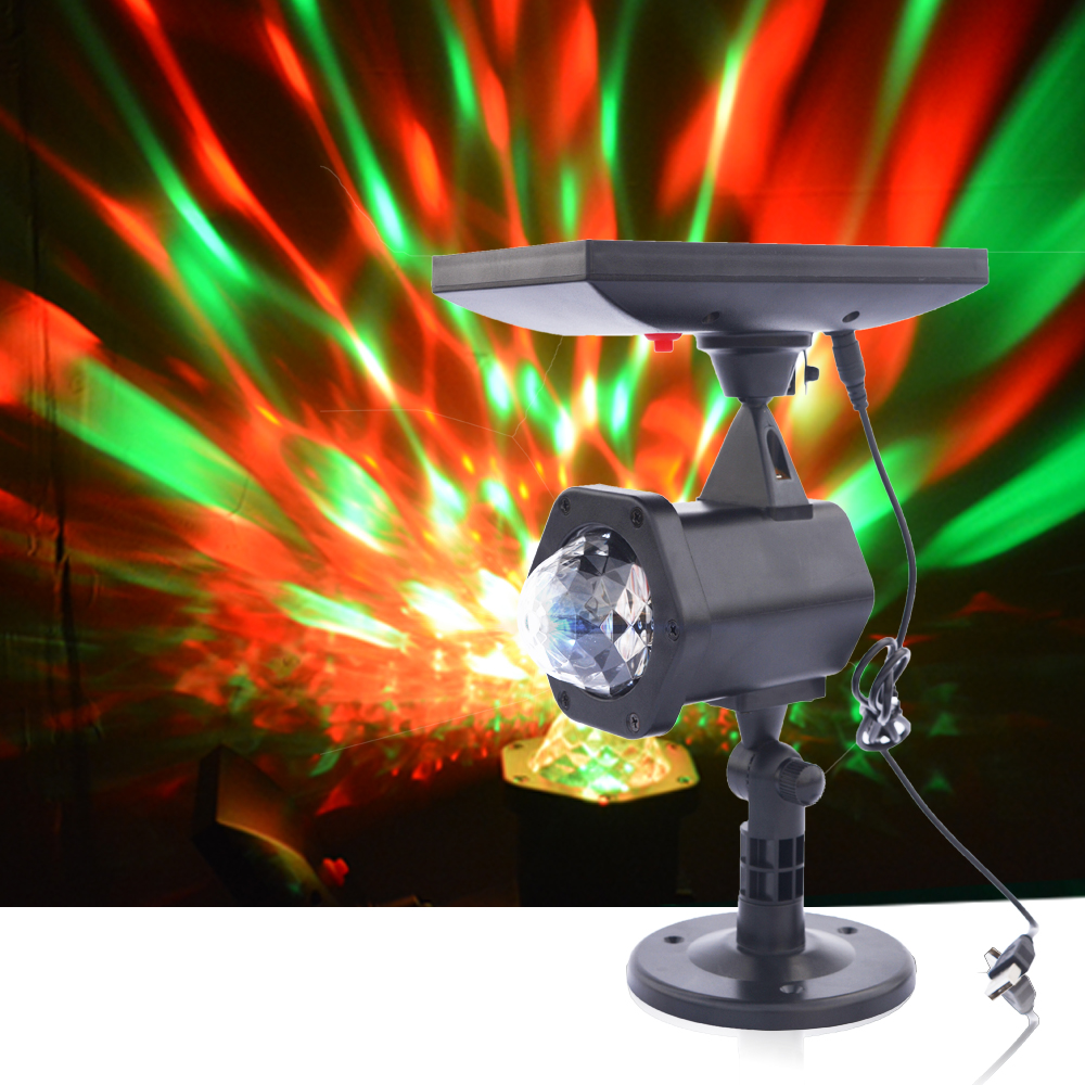 Solar Power LED Projector Light Colorful Rotating Crystal Magic Ball Disco Stage Light Outdoor Garden Lawn Christmas Party Light