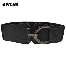 HOT Cummerbunds PUNK carved circle buckle woman belts wide elastic coat Cummerbund dress belt for women ceinture femme de marque