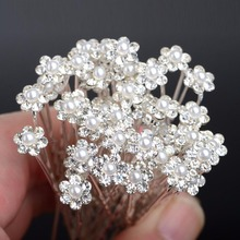 imixlot Wedding Hair Pins Simulated Pearl Flower Bridal Hairpins Bridesmaid Hair Clips Women Hair Jewelry Accessories 40 PCS
