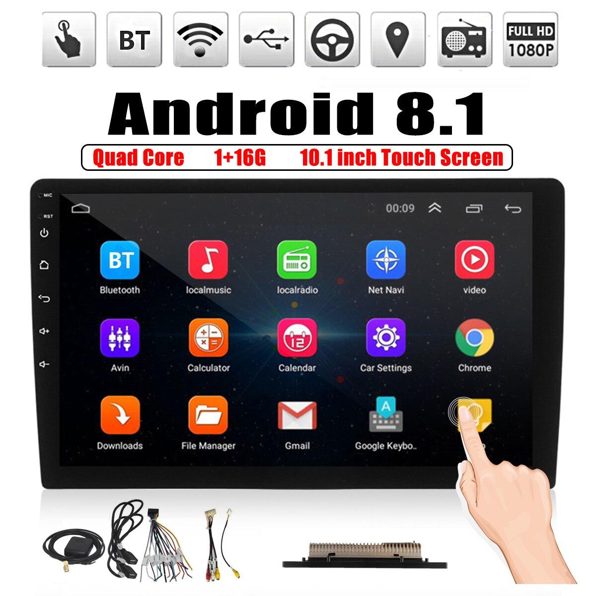 Lecteur multimédia de voiture 10.1 ''Android 8.1 autoradio 2DIN bluetooth WIFI GPS Nav Quad Core Radio vidéo lecteur MP5