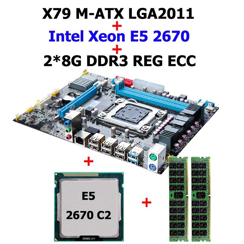Nuovo arrivo HUANAN X79 LGA2011 scheda madre CPU RAM processore Xeon E5 2670 SROKX combo RAM 16G (2 * 8G) DDR3 REG ecc sono tutti testati