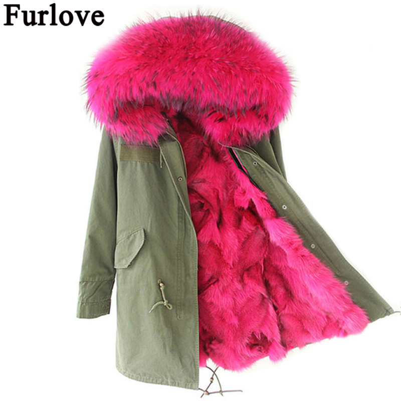 Furlove Winter Parkas Women Army Black Green Parka Coats Real Large Raccoon Fur Collar Fox Fur Lining Hooded Outwear Free DHL kohuijoos 3xl winter women army green large raccoon fur collar hooded coat warm detachable natural fox fur lining parka coats