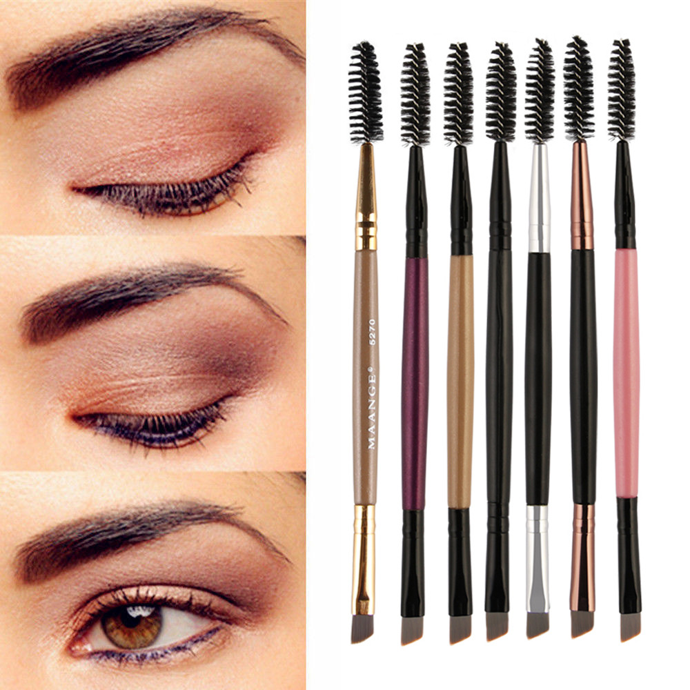 1PCS Duo Brow Makeup Brush Wood Handle Double Sided Eyebrow Flat Angled Brushes brochas maquillaje profesional pinceaux NEW #7 golf wood 5 head cover