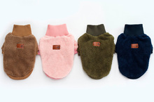 FP11 Antumn Winter Pet high collar Velvet Sweater Clothing  Warm Puppy dog cat 2 legs hoodie coat Solid color Chihuahua
