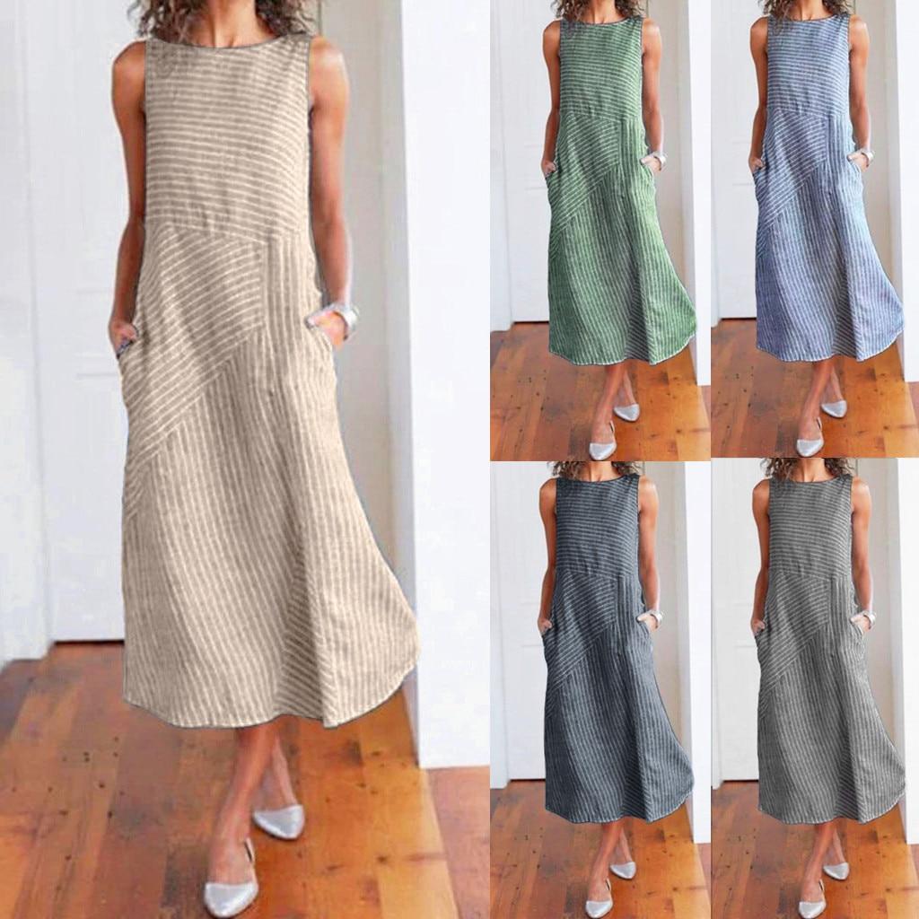 Women Summer Dress  Casual Striped Sleeveless Maxi Dress Crew Neck Linen Pocket Party  Long Dress