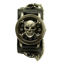 Synthetic Leather Strap Quartz Watch Classic Punk Chain Skull Pattern Women Men Bracelet Cuff Gothic Watches