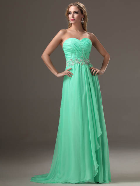 d378669641 placeholder 2019 Designer Long Jade Evening Dresses With Train Sweetheart  Beaded Chiffon Women Teens Formal Prom Party