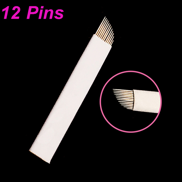 500 Pcs 9/11/12 Flex Lamina Agulhas Tebori Microblading Needles Pins Tattoo Needle  Blade Manual Eyebrow Pen Pernement Makeup 2