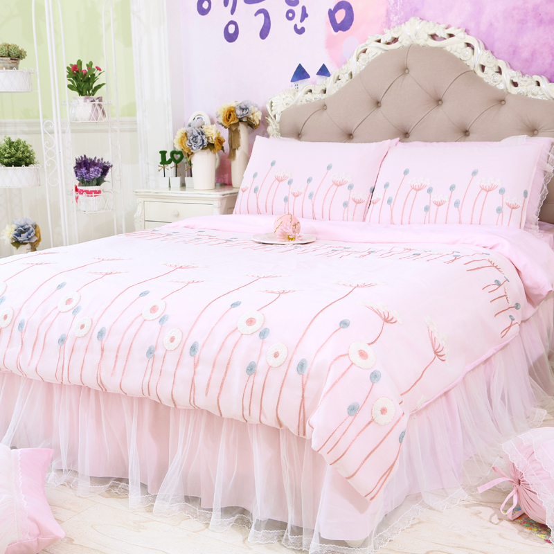 White pink purple bed set teen girl,twin full queen king cotton lace single doulbe bedclothes bedspread pillow case quilt cover ...