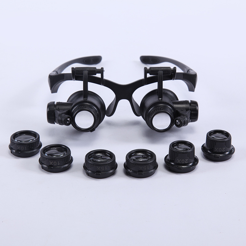 Magnifying Glasses Resin Lupa <font><b>10X</b></font> <font><b>15X</b></font> <font><b>20X</b></font> <font><b>25X</b></font> Eye Jewelry <font><b>Watch</b></font> <font><b>Repair</b></font> <font><b>Magnifier</b></font> Glasses <font><b>With</b></font> <font><b>2</b></font> <font><b>LED</b></font> Lights New Loupe Microscope image