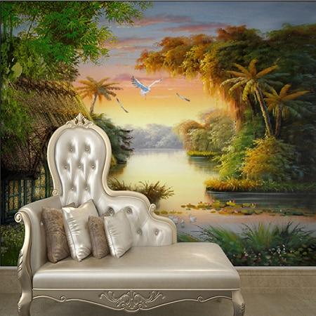 Custom Wall Mural European Landscape Oil Painting Scenery Sunset Bird  Wallpaper Bedroom Living Room Hotel Mural