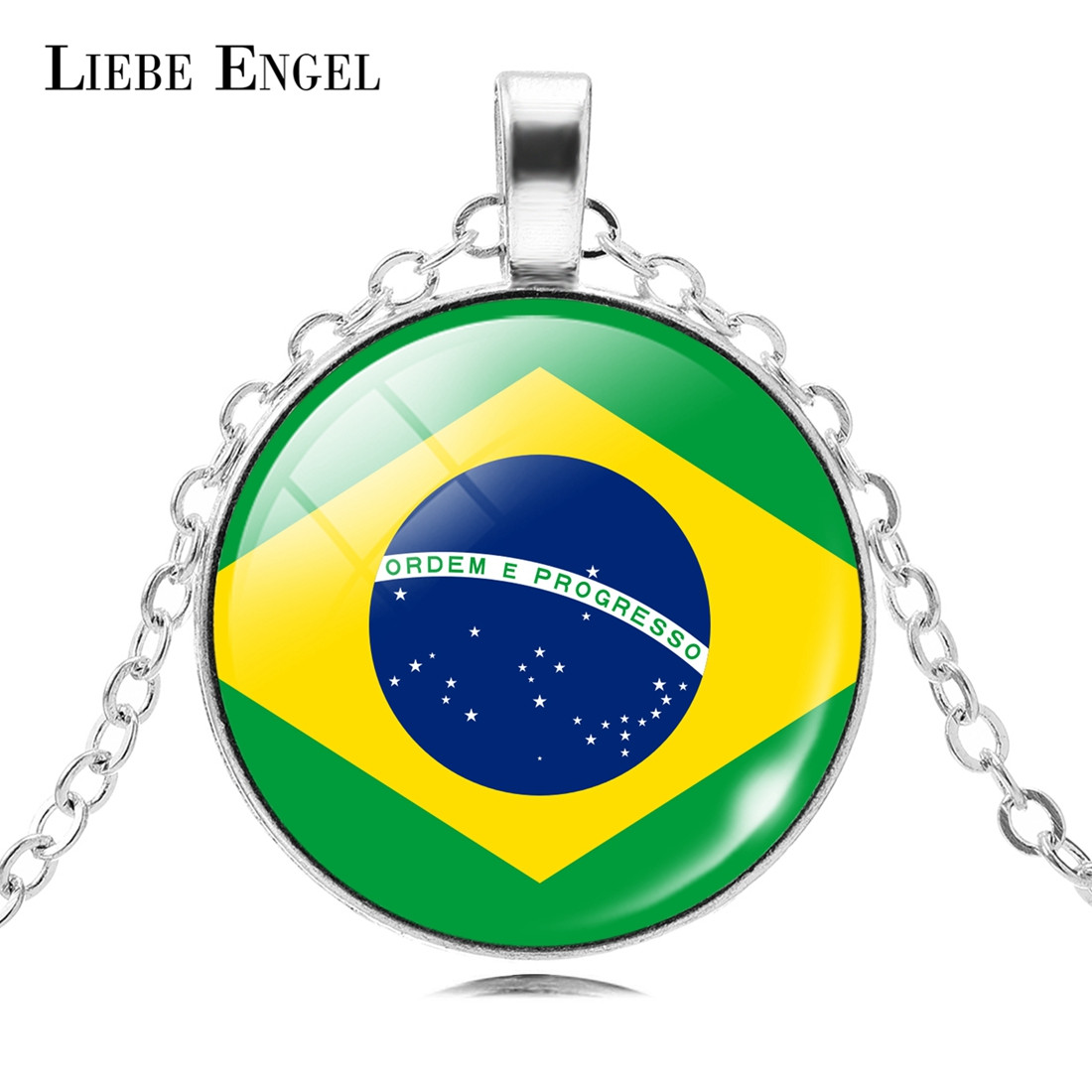 LIEBE ENGEL National Flag Necklaces Pendants Football Sports Leather Necklace Men Women Fashion Jewelry Dropshipping New Arrival