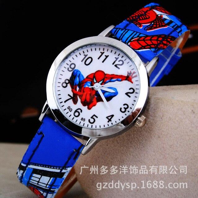 2016 Spider Cartoon Watch Children Kids Wristwatch Boys Clock Child Gift Leather