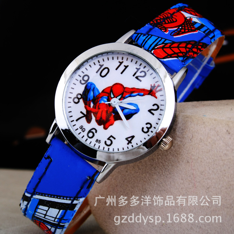 Spider-Man Cartoon Watch Children Kids Wristwatch Boys Clock Child Gift Leather Wrist Watch Quartz Cartoon-watch Quartz-watch