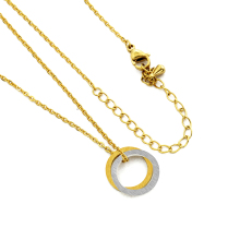 Dainty Sliding Interlocking Double Circle Necklace Infinity Karma Round Layered Necklace Choker Women Eternity Jewelry Gifts
