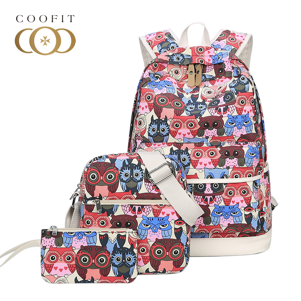 Coofit Backpack Sets Casual Womens Backpacks Cute Owl Printing Canvas School Bag Girls Travel Rucksack with