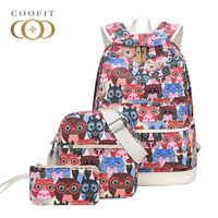 Coofit Backpack Sets Casual Womens Backpacks Owl Printing Canvas School Bag Girls Travel Rucksack With Shoulder