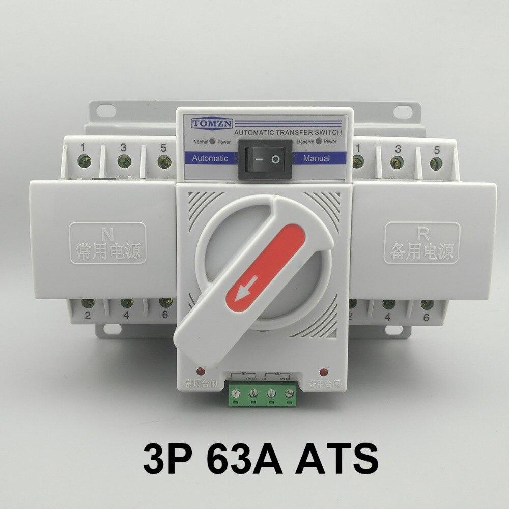 3 p 63A 380 v 50/60 hz 3 fil MCB type Double Pouvoir commutateur de transfert Automatique ATS