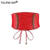 Female Tassels Elastic Waistband Wide Belt For Women 2017 Red Black Leather Wide Belts Skirt Dress