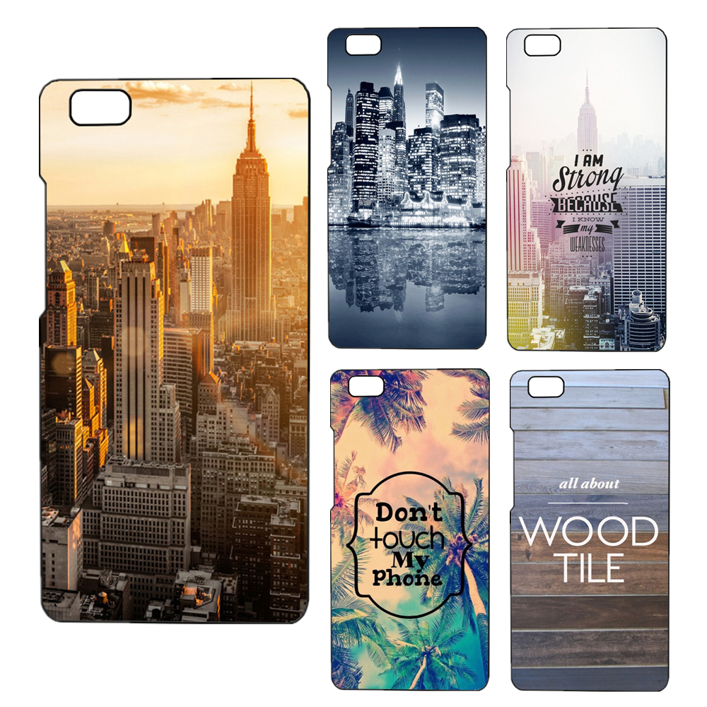For Huawei P8 Lite Case Back Cover Beautiful City Landscape Painted Phone Bags For Huawei P8Lite Celular Capa
