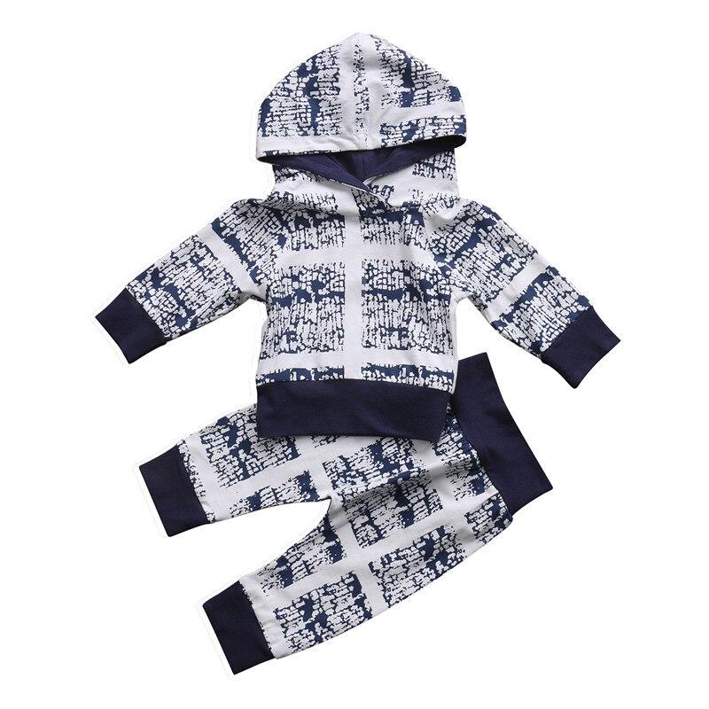 Осень 2017 г. Симпатичные новорожденного для маленьких мальчиков Комплекты для девочек комплект одежды длинные Sleevel с капюшоном футболка Брю...