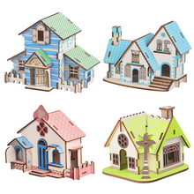 Children DIY 3D Mode House Toys Kits Romantic House Wood Puzzles Education Toy Model Building Wooden toys for Kids and Adults robotime wooden mini architecture toy diy 3d puzzle sam s study miniature model building kits wood toys for adults bookstore